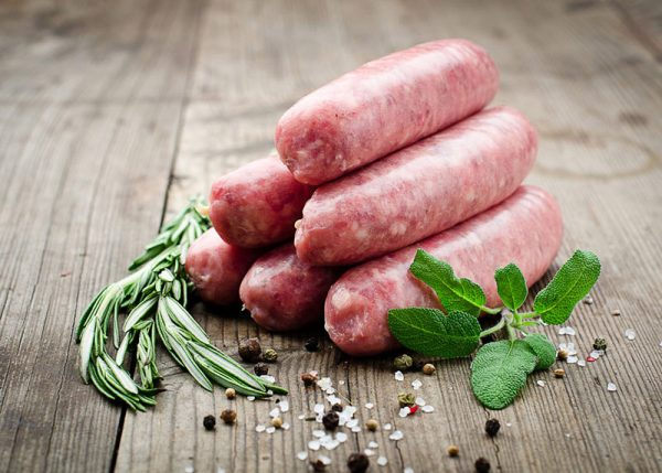 Thick beef sausages